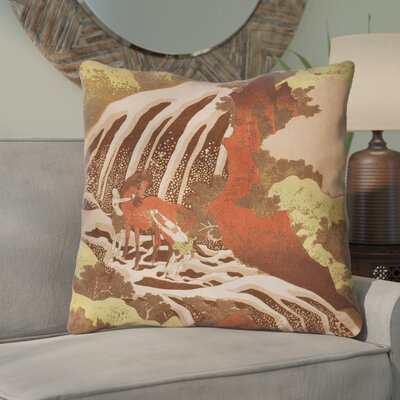 Channelle Horse and Waterfall Euro Pillow Color: Yellow