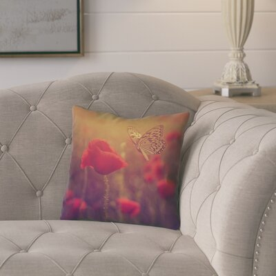 Mariani Butterfly and Rose Square 100% Cotton Throw Pillow Color: Red/Yellow, Size: 14 H x 14 W