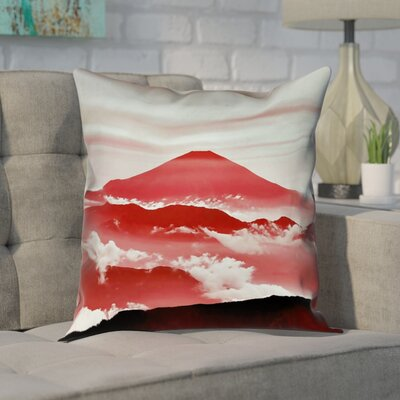 Enciso Fuji Square Pillow Cover Size: 18 H x 18 W, Color: Red