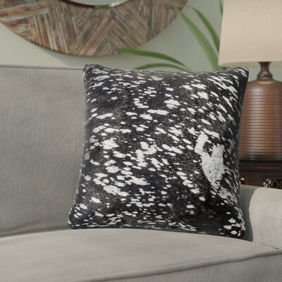 Graham Naturally Smooth Cowhide Throw Pillow Color: Black/Silver