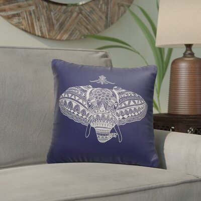 Elizabella Elephant Indoor/Outdoor Throw Pillow Size: 18 x 18
