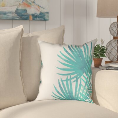 Eleni Aqua Palm Leaves II Outdoor Throw Pillow Size: 20 x 20