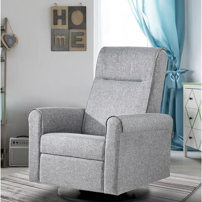 Nolita Upholstered Glider Swivel Manual Recliner with Built in Footrest Body Fabric: Pebble Gray