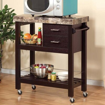 Hosking Kitchen Cart with Faux Marble Top