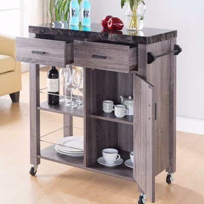 Hawksley Highly Functional Kitchen Cart with Marble Top Base Finish: Gray