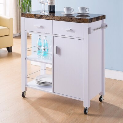Hawksley Highly Functional Kitchen Cart with Marble Top Base Finish: White