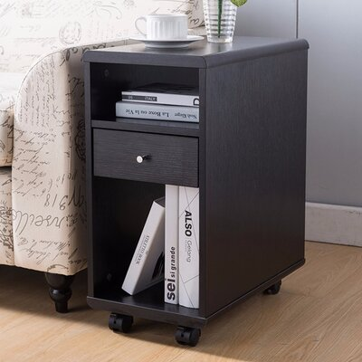 Wallach Spacious End Table with Storage Color: Dark Brown