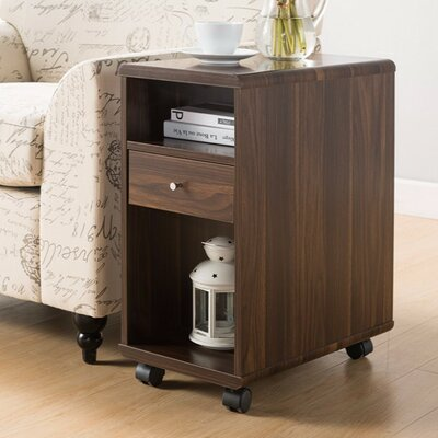 Wallach Spacious End Table with Storage Color: Brown