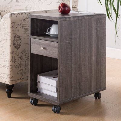 Wallach Spacious End Table with Storage Color: Gray