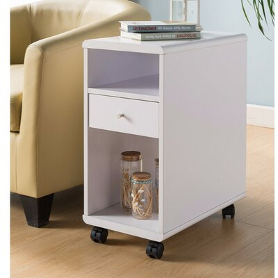 Wallach Spacious End Table with Storage Color: White