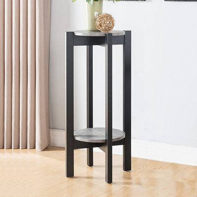 Busti Natural Wood Plant Stand End Table Color: Black/Gray