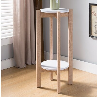 Busti Natural Wood Plant Stand End Table Color: Light Brown/White