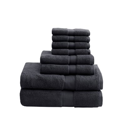 8 Piece Towel Set Color: Black