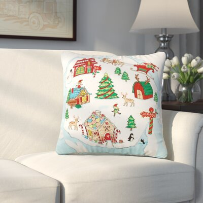 Smyrna North Pole Beaded 100% Cotton Throw Pillow