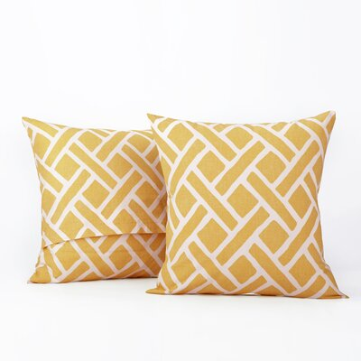 Amandier 100% Cotton Pillow Cover Color: Yellow