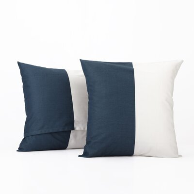 Gabriel Horizontal Stripe 100% Cotton Pillow Cover Color: Dusk Blue & OffWhite