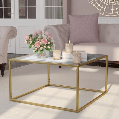 Theydon Coffee Table Color: Gray/Gold