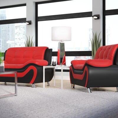 Machelle 2 Piece Living Room Set Upholstery: Black/Red