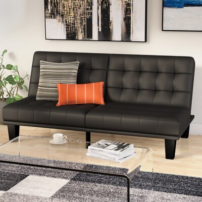 Haysi Futon Lounger Convertible Sofa Upholstery: Black