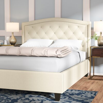 Dollard Tufted Linen Upholstered Panel Bed Size: Queen