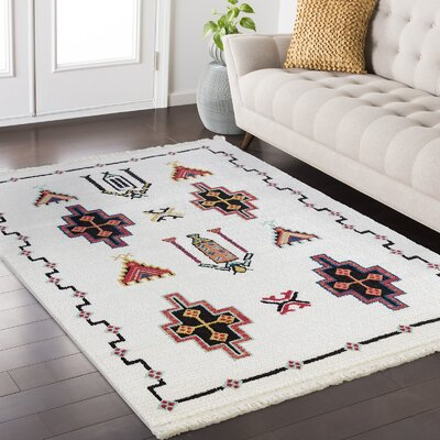 Rubie White/Black Area Rug Rug Size: Rectangle 52 x 72