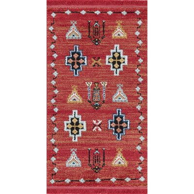 Hervey Red Area Rug Rug Size: Rectangle 27 x 47