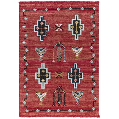 Hervey Red Area Rug Rug Size: Rectangle 78 x 102