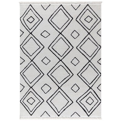 Hervey White/Charcoal Area Rug Rug Size: Rectangle 52 x 72