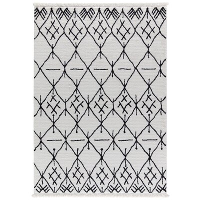 Hervey White/Charcoal Area Rug Rug Size: Rectangle 67 x 96