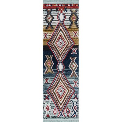 Hervey Blue/Red Area Rug Rug Size: Runner 23 x 72