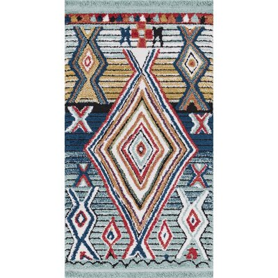 Hervey Blue/Red Area Rug Rug Size: Rectangle 27 x 47