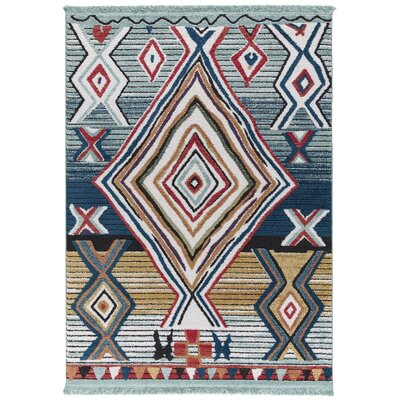 Hervey Blue/Red Area Rug Rug Size: Rectangle 78 x 102