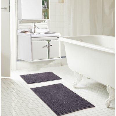 Bowden Short Pile Chenille 2 Piece Bath Rug Set Color: Charcoal