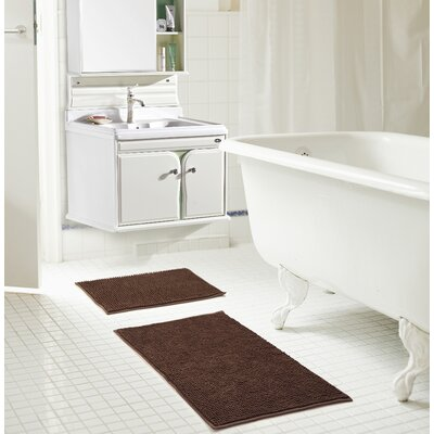 Bowden Short Pile Chenille 2 Piece Bath Rug Set Color: Chocolate