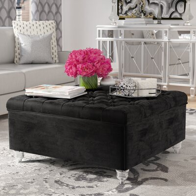 Jii Oversized Button Tufted Storage Ottoman Upholstery: Black