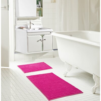 Bowden Short Pile Chenille 2 Piece Bath Rug Set Color: Fuchsia