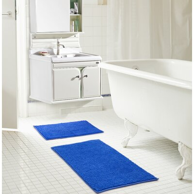 Bowden Short Pile Chenille 2 Piece Bath Rug Set Color: Royal Blue