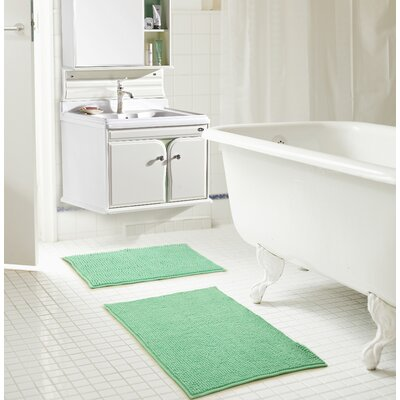 Bowden Short Pile Chenille 2 Piece Bath Rug Set Color: Sea Glass