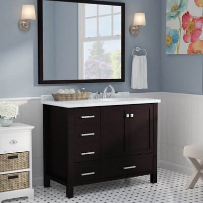 Marine Modern 43 Single Bathroom Vanity Set with Mirror Base Finish: Espresso