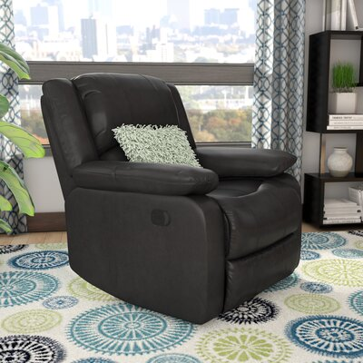 Meade Manual Recliner Upholstery: Black