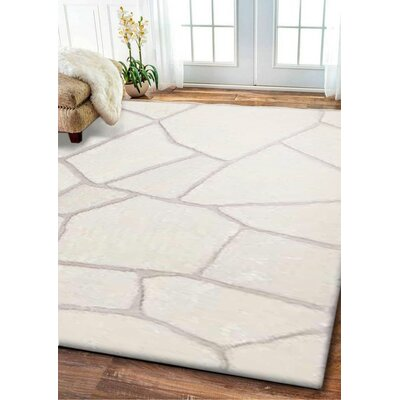 Mccready Hand-Tufted Steel Ivory Area Rug Size: Rectangle 76 x 103