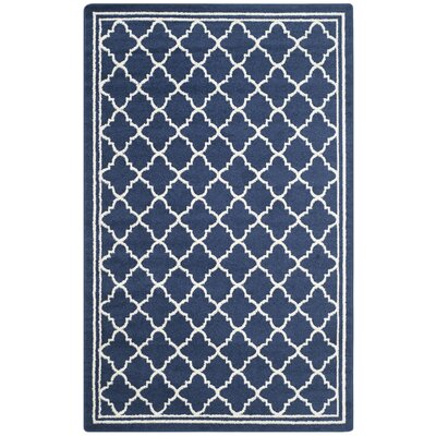 Maritza Geometric Navy/Beige Indoor/Outdoor Woven Area Rug Rug Size: Rectangle 5 x 8