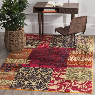 Ward Red Area Rug Rug Size: Rectangle 51 x 77