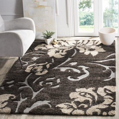 Marybell Dark Brown Area Rug Rug Size: Rectangle 53 x 76