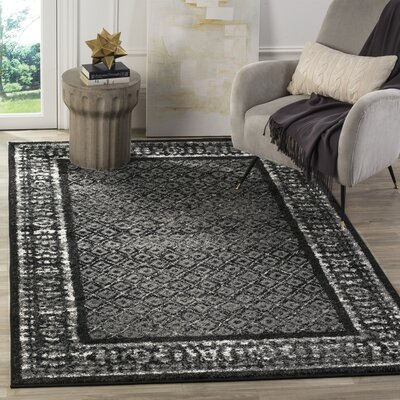 Timothee Black/Silver Area Rug Rug Size: Rectangle 51 x 76