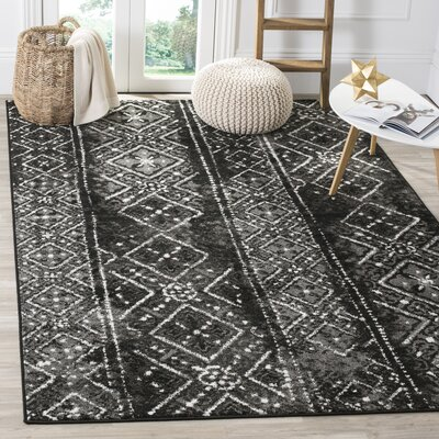 Meadors Black/Silver Area Rug Rug Size: Rectangle 6 x 9