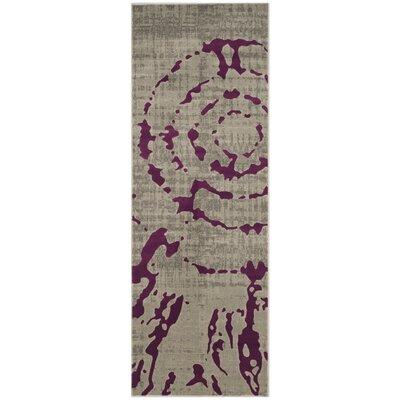 Varnai Light Gray/Purple Area Rug Rug Size: Runner 24 x 67