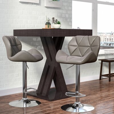 Marceline Hydraulic Adjustable Height Swivel Bar Stool Upholstery: Gray