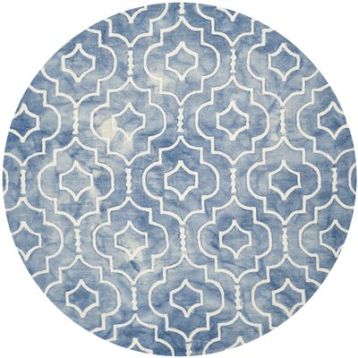 Berman Hand-Tufted Navy/Ivory Area Rug Rug Size: Round 7