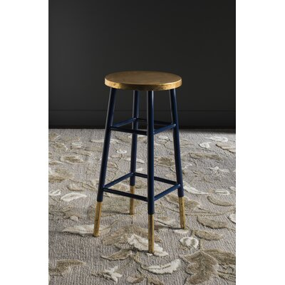 Mizar 30 Bar Stool Upholstery: Navy / Gold